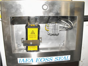 A new electro-optical seal related to the monitoring system on the fissile solution storage tank was installed in 2011, as part of the safeguards agreement between Canada and the IAEA.