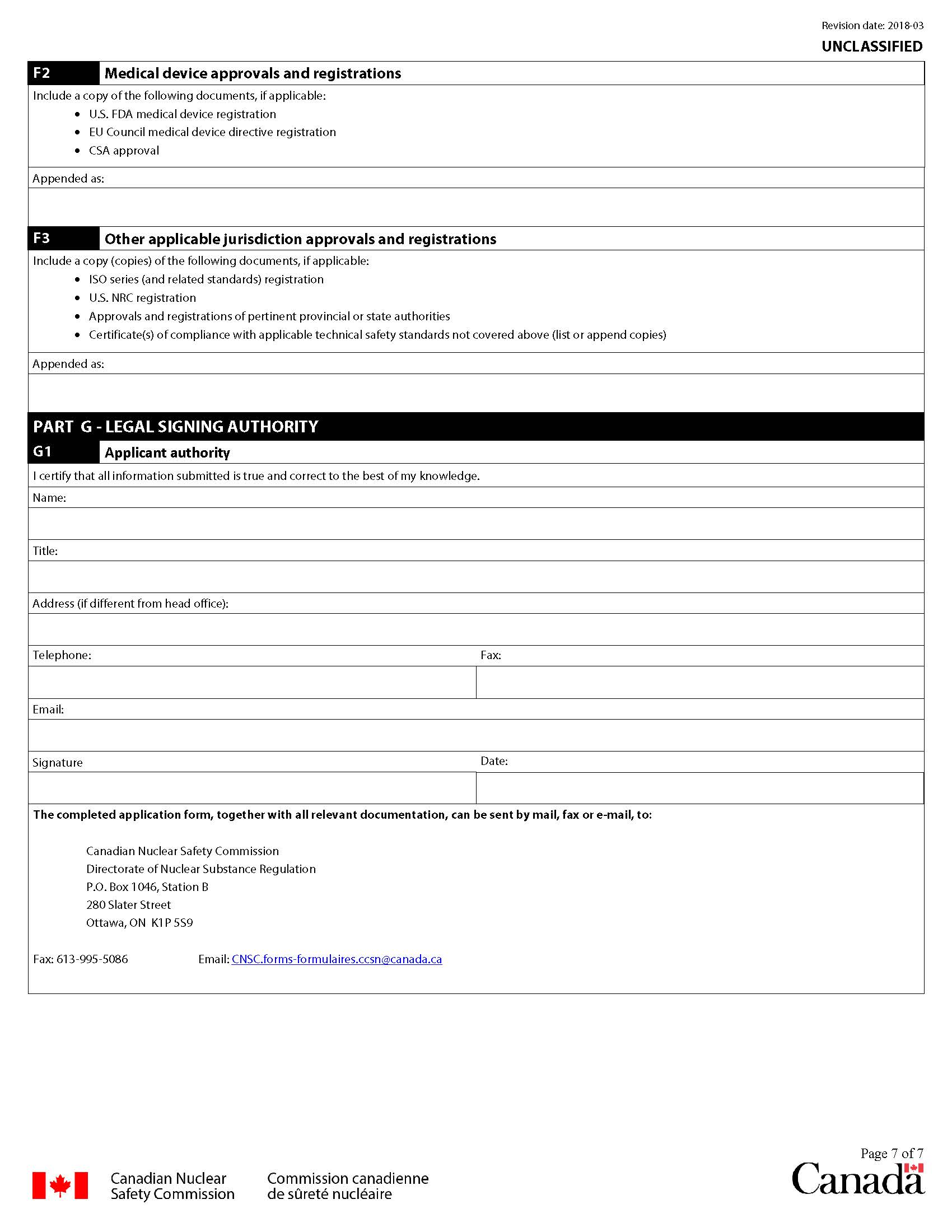 Application form for certification of radiation devices or Class II prescribed equipment: page 7