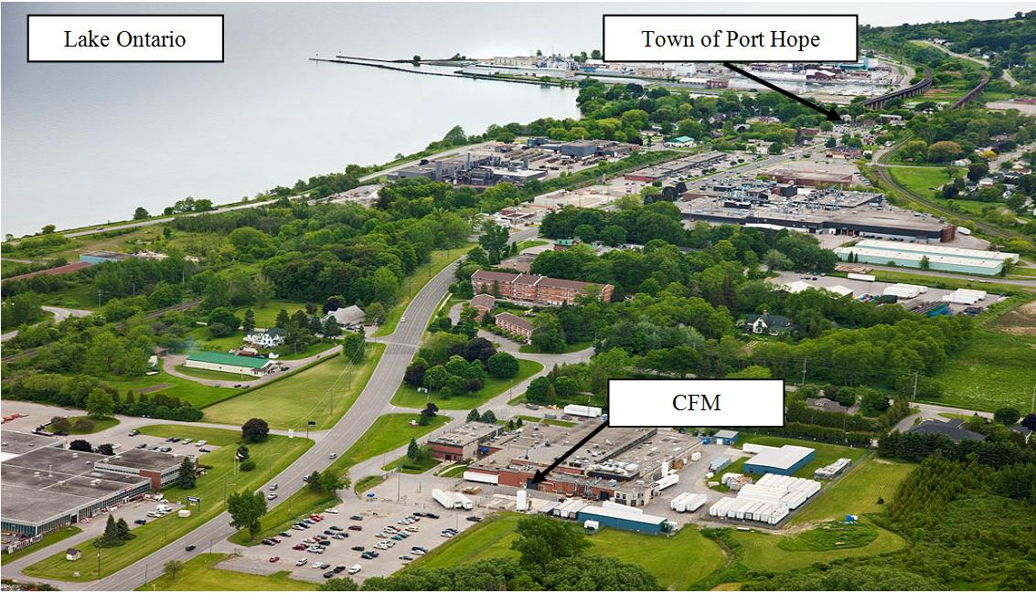 Aerial view of Cameco Fuel  Manufacturing located in the Municipality of Port Hope on the north shore of Lake Ontario.