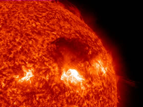 Solar flare at the surface of the sun